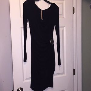 Black long sleeve gathered side fitted dress